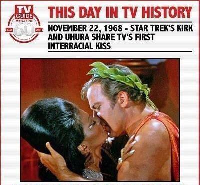 Of course, even in 1968, the only way to show an interracial kiss on TV was to put it in outer space ...
