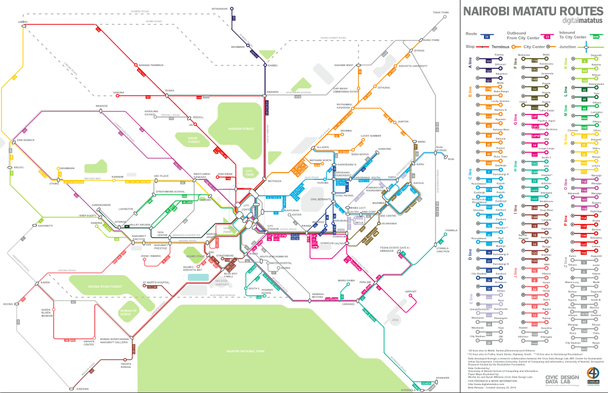 A map of Nairobi informal transit routes