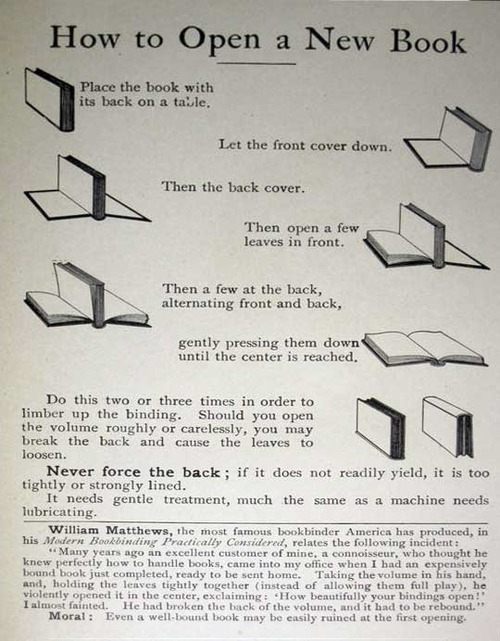 How to open a new book, back in the days of hand sewn bindings.