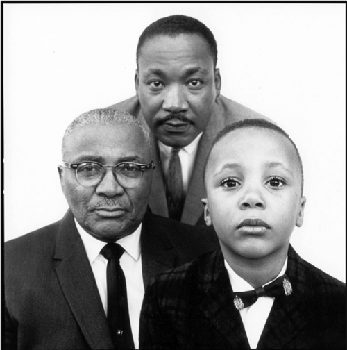 Richard Avedon. Martin Luther King Jr. with his father and son. Atlanta, Georgia. March 22, 1963.