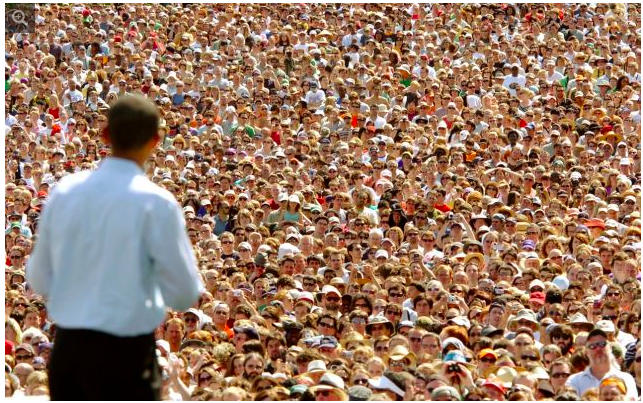 Senator Barack Obama looks out to a sea of supporters in Portland on May 18, 2008 (AP)